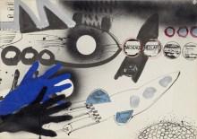 Nescafe Nescafe, c. 1963. Collage, ink and acrylic on paper, 44 x 63cm. Andrew Rinkhy/ Kogelnik Foundation Vienna/ New York