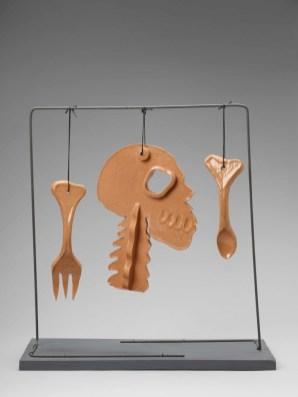 Orange Naked, c. 1986. Glazed ceramics and wire on painted wood, 52 x 20 x 50cm. Andrew Rinkhy/ Kogelnik Foundation Vienna/ New York