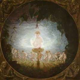 Puck. Oil on canvas (?), 1841, 52.9 x 52.9 cm. Collection: Harris Museum & Art Gallery