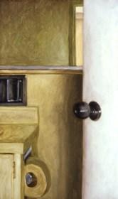 A Glimpse into the Bathroom, 1984, oil on canvas, 76.2 x 46.0 cm