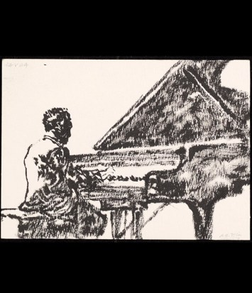 Pianist 1, 2004. Sumi ink on paper, 10 x 14 cm