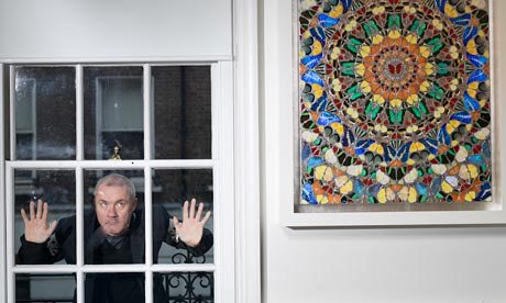 "Photograph: Pal Hansen for the Observer, 11 March 2012. ""Damien Hirst has gone from mouthy YBA to global brand over the past 25 years – and become the world's richest living artist on the way. Here he talks about money, mortality and his first retrospective in Britain."""