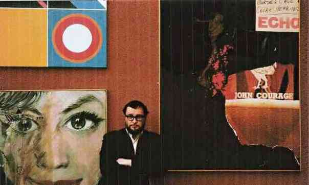 Adrian Henri with (on the right) his Big Liverpool 8 Murder Painting, c1964. Photograph: ICA
