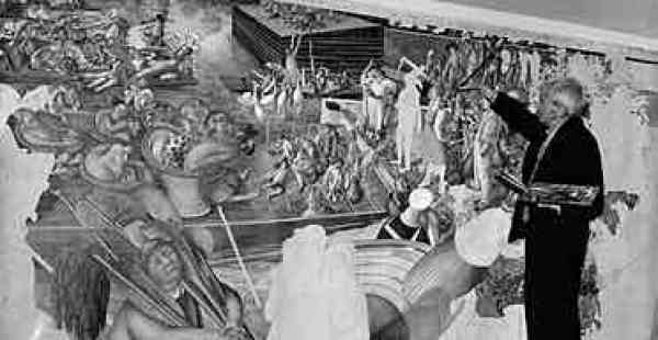 "Guardian, 2007 │ Working on his painting ""Christ talking with people at Cookham Regatta"" in 1959 │ Photograph: Harry Todd/Hulton Archive │ ""Nicknamed 'Cookham' by fellow artists, Stanley Spencer devoted himself to painting sweetly bizarre scenes of the village where he was born, turning its streets into visions of holiness. But just how innocent was he, asks Fiona MacCarthy."""