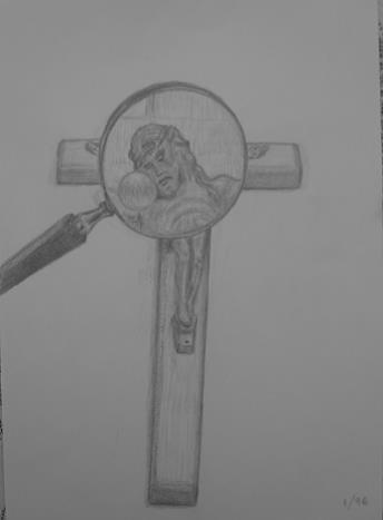 Crucifix and magnifying glass, January 1996, pencil on paper