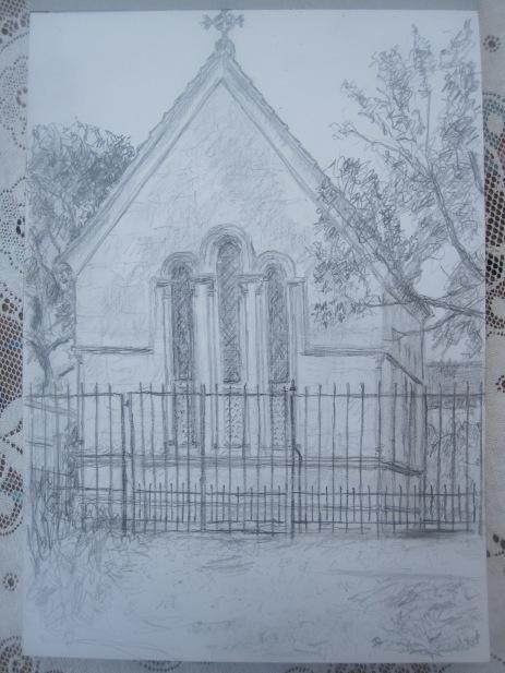 Packe Mausoleum, Branksome Park, Bournemouth, 2013, pencil on paper