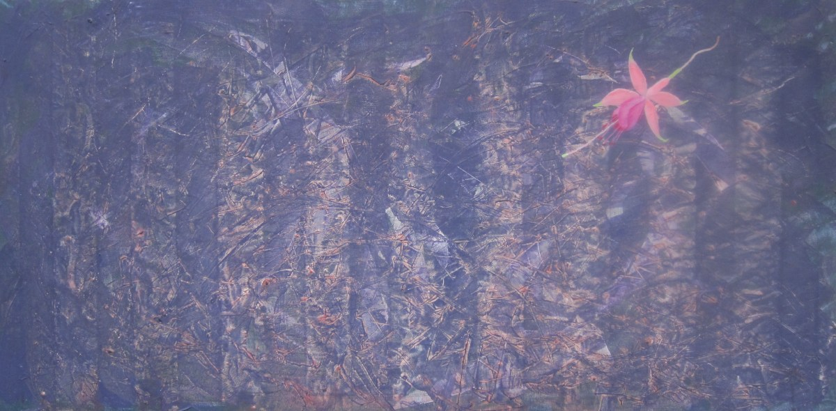 THE FUSCHIA THAT FELL ON MY PAINTING │ 2005 │ Acrylics on canvas │ 50 x 100 sm