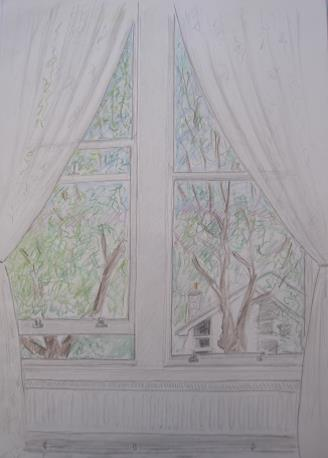 View from Mike's flat in Ilkley, August 2006, pencil and crayon on A3 paper