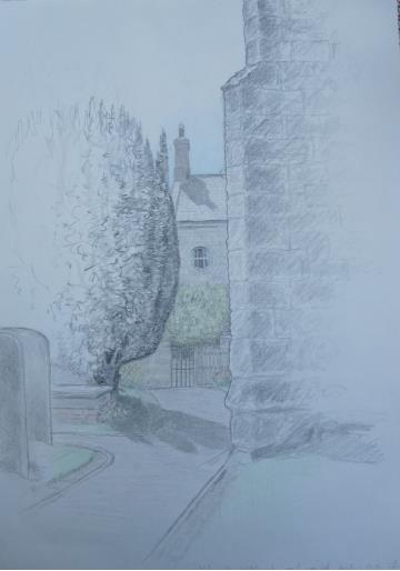 Warkworth Churchyard, July 2005, pencil and crayon on paper