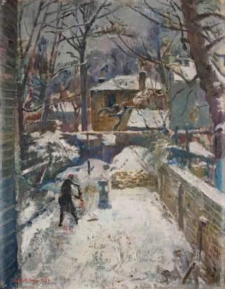 Chelsea Garden under Snow (The Black Spider), Kenneth Green (1905–1986), 1942