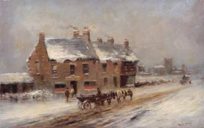 The Road to Edgware, Winter, Robert Finlay McIntyre (c.1846–1906), 1881