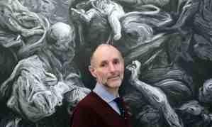 "The Guardian, 24 January 2018: ""Inside Dr Frankenstein's studio: Glenn Brown on his macabre mashups."" Photograph: Martin Godwin."