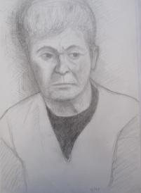 Grandma Slavíková, December 1997, pencil on A3 paper