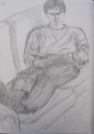 Pete reading, November 1996, pencil on A3 paper