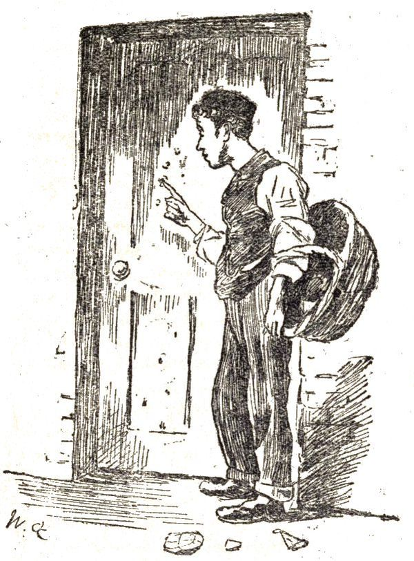 The grocer's boy was actually picking off the paint on the side door, which had formed into blisters.
