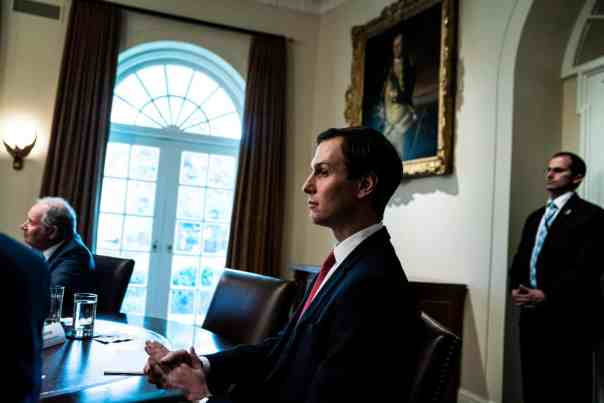 Jared Kushner listens as Donald Trump meets with bank CEOs about the Covid-19 response in the Cabinet Room at the White House on 11 March. Photograph: Jabin Botsford/The Washington Post via Getty Images