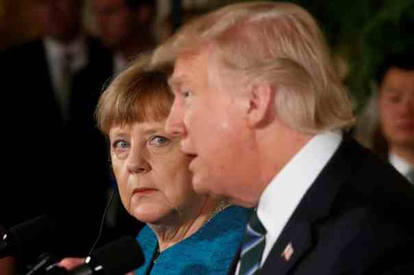 Angela Merkel and Donald Trump at a joint news conference in the East Room of the White House in March 2017. Photograph: Jonathan Ernst/Reuters