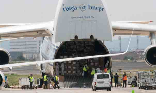 A Russian plane delivers medical equipment to Spain. Photograph: José Jordan/AFP via Getty Images