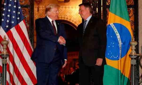 Donald Trump and Jair Bolsonaro at Trump's Mar-a-Lago residency, Florida. Photograph: Alan Santos Presidencia Da Re/Reuters
