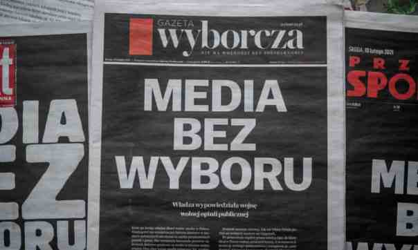 Gazeta Wyborcza's front page reads 'Media without choice' in February, protesting against the new media tax. Photograph: Wojtek Radwański/AFP/Getty Images