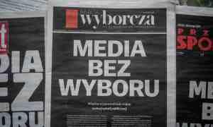 Gazeta Wyborcza's front page reads 'Media without choice' in February, protesting against the new media tax. Photograph: Wojtek Radwański/AFP/Getty Images