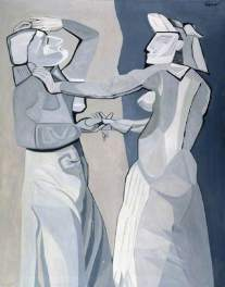 Dancers Rehearsing, by Robert Colquhoun, 1958. Oil on canvas, 152 x 121 cm. The Fitzwilliam Museum