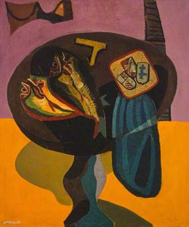 Robert MacBryde: Still Life: Fish on a pedestal table, c.1950. Oil on canvas, 61.3 x 50.9 cm. National Galleries of Scotland