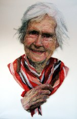 'Mum with Red Scarf'. H130 x W190. Thread sewn into dress netting stretched over canvas
