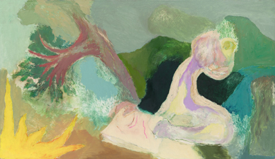 Person writing, 1997, oil on board, 69 x 118 cm