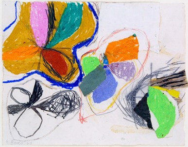 Gillian Ayres, Untitled (Abstract), pastel & charcoal on paper, 45.7 x 49.8 cm 1962/63. Reproduced courtesy Gillian Ayres. Schlee Collection, Southampton