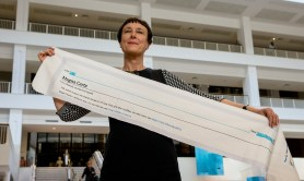 Guardian: Cornelia Parker with a fragment of Magna Carta (An Embroidery). Photograph: Tony Antoniou