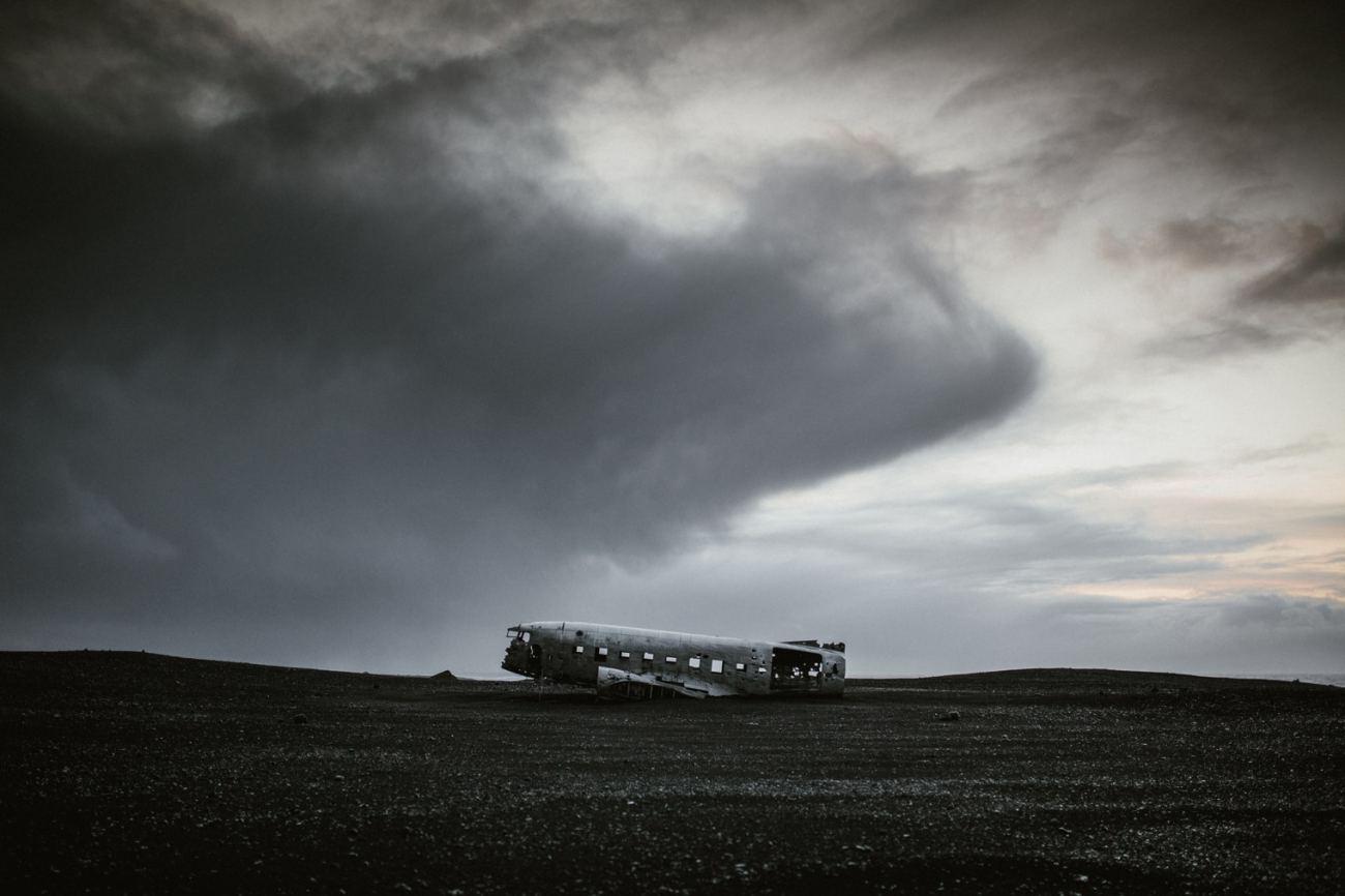 Plane wreck on black sand beach Iceland