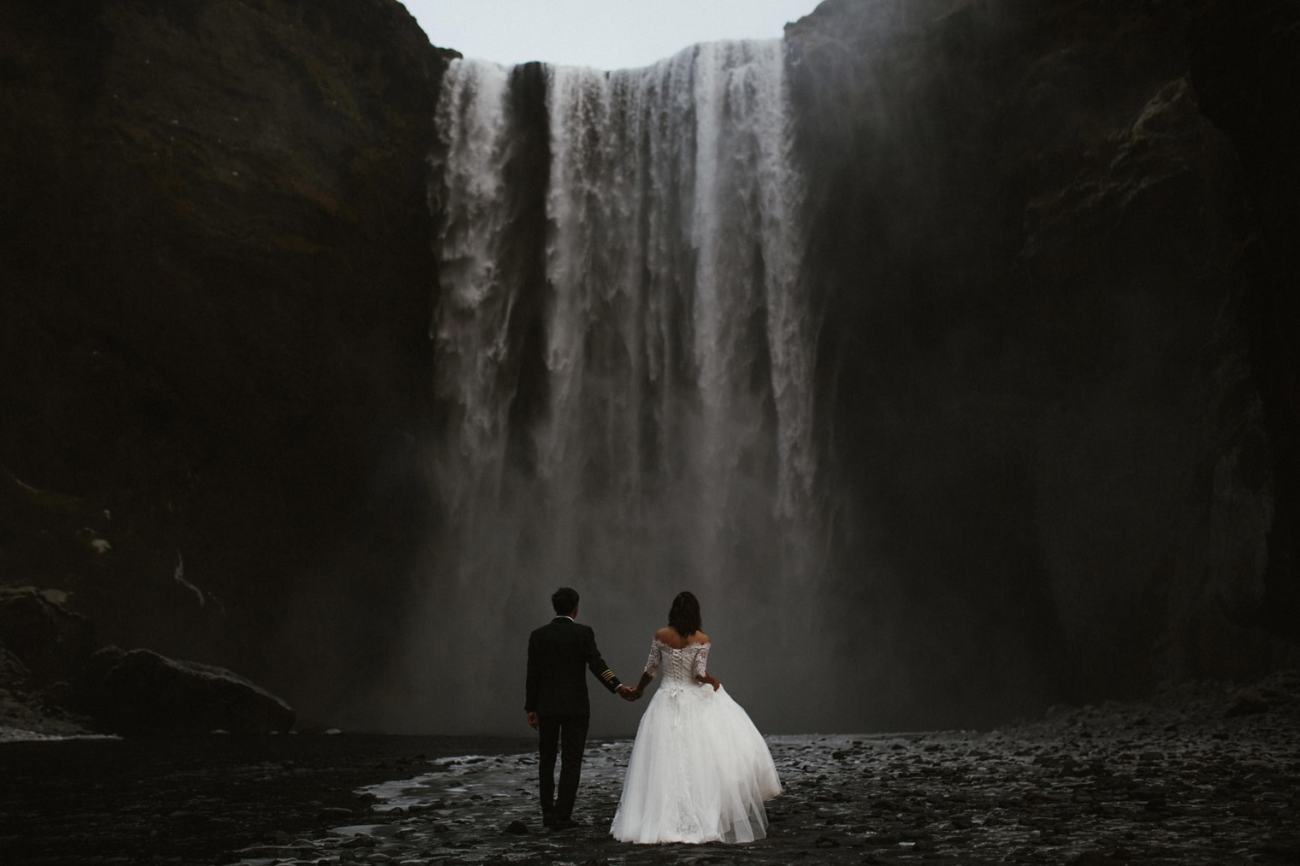 Skogafoss waterfall elopement