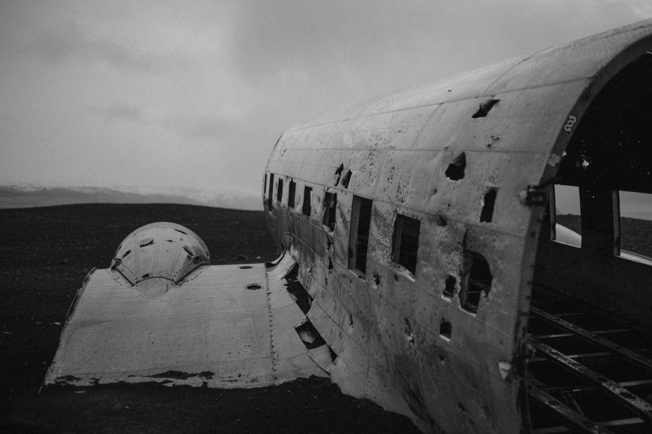 Iceland plane wreck on black sand beach