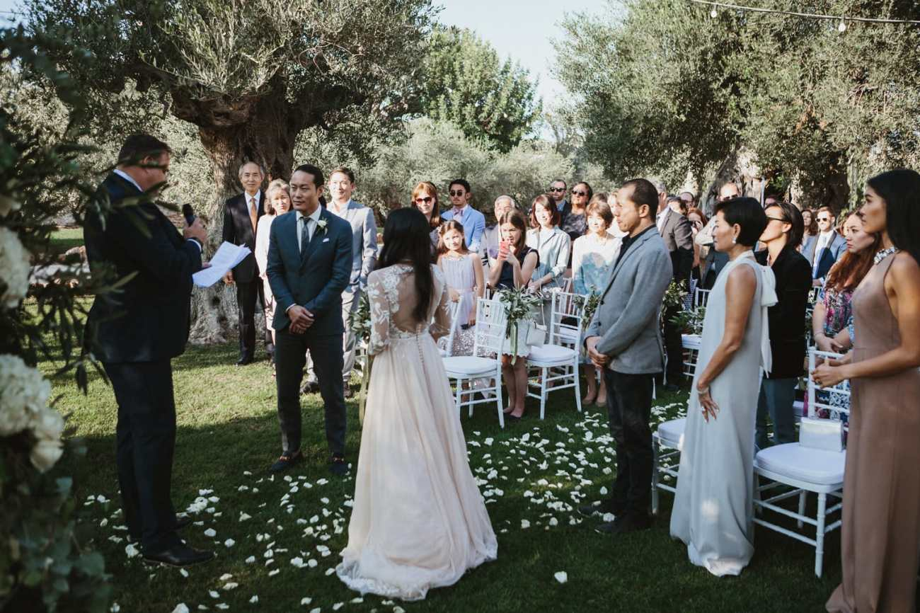 Puglia wedding ceremony at masseria torre coccaro wedding venue