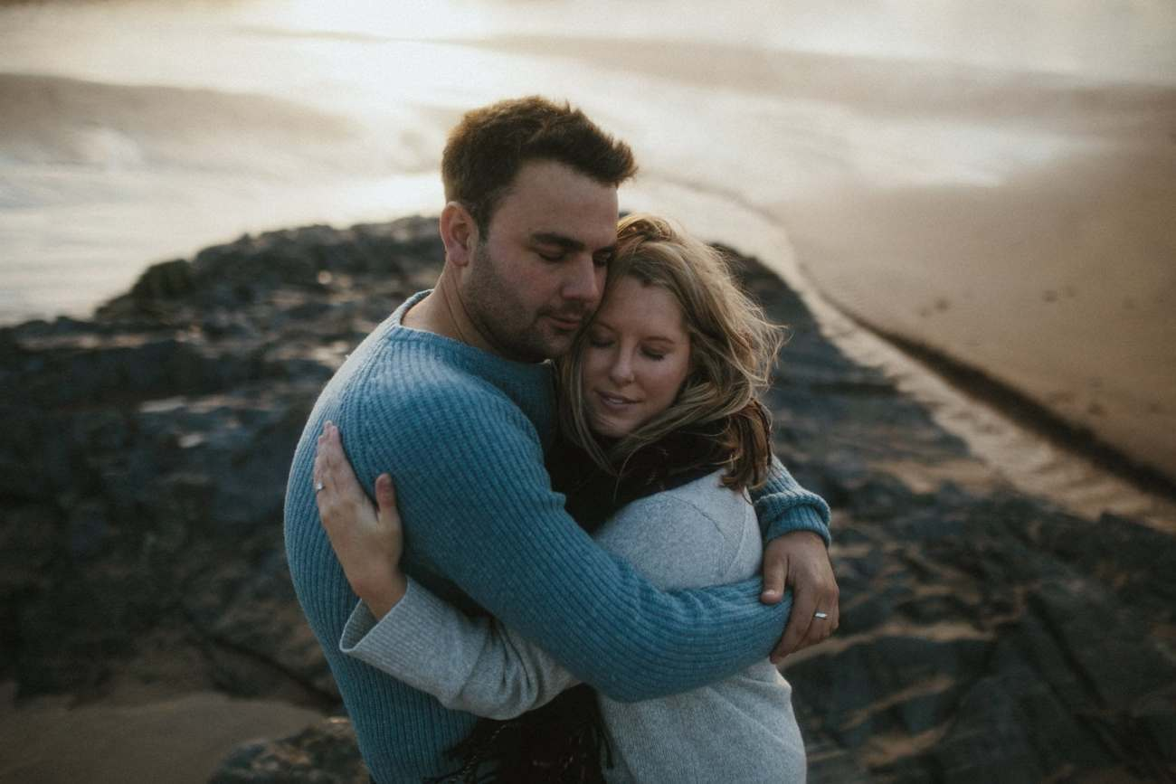 Cornwall Beach Engagement Session at Treyarnon Beach in Cornwall
