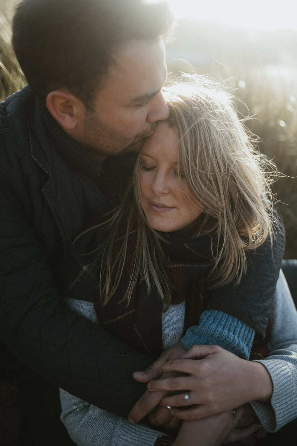 Engagement session in Cornwall, at Constantine bay beach