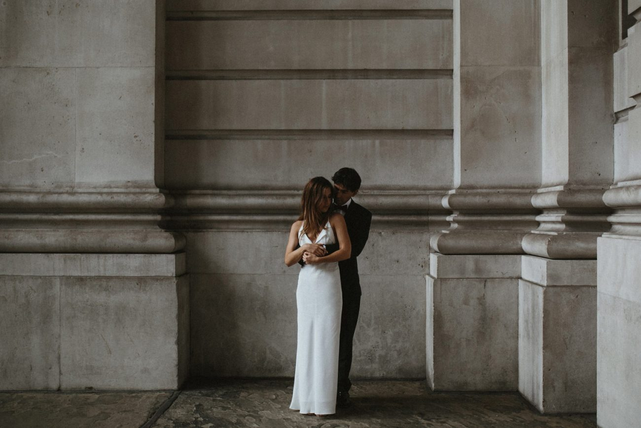 Wedding portraits in London at the Royal exchange building