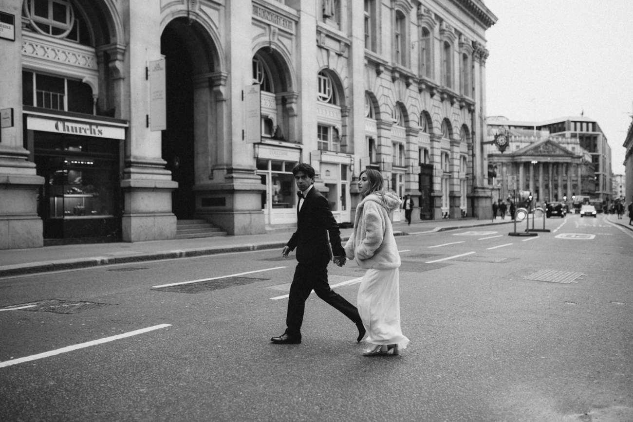 london city wedding couple walking through london streets