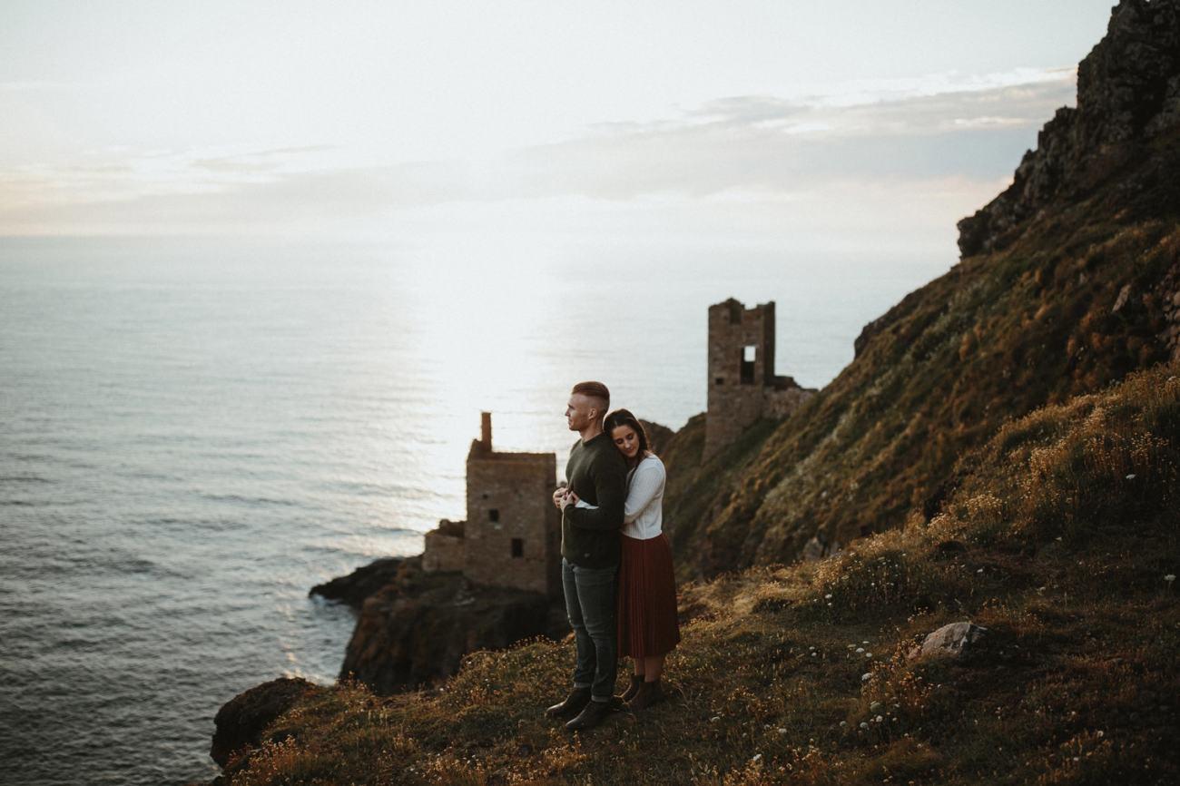 Cornwall coast engagement shoot with Cornish mines