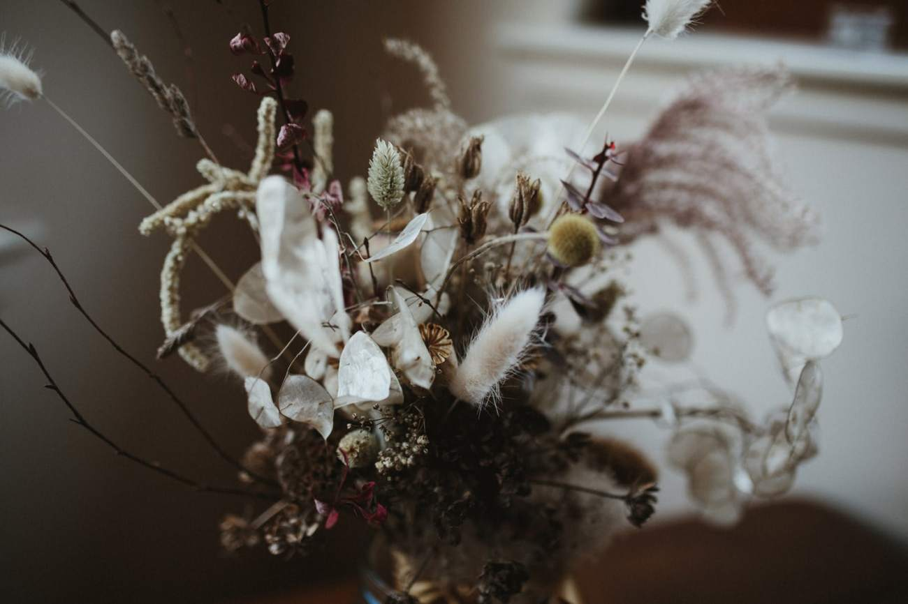 Dried flower bouquet for autumn elopement in the Scottish Highlands