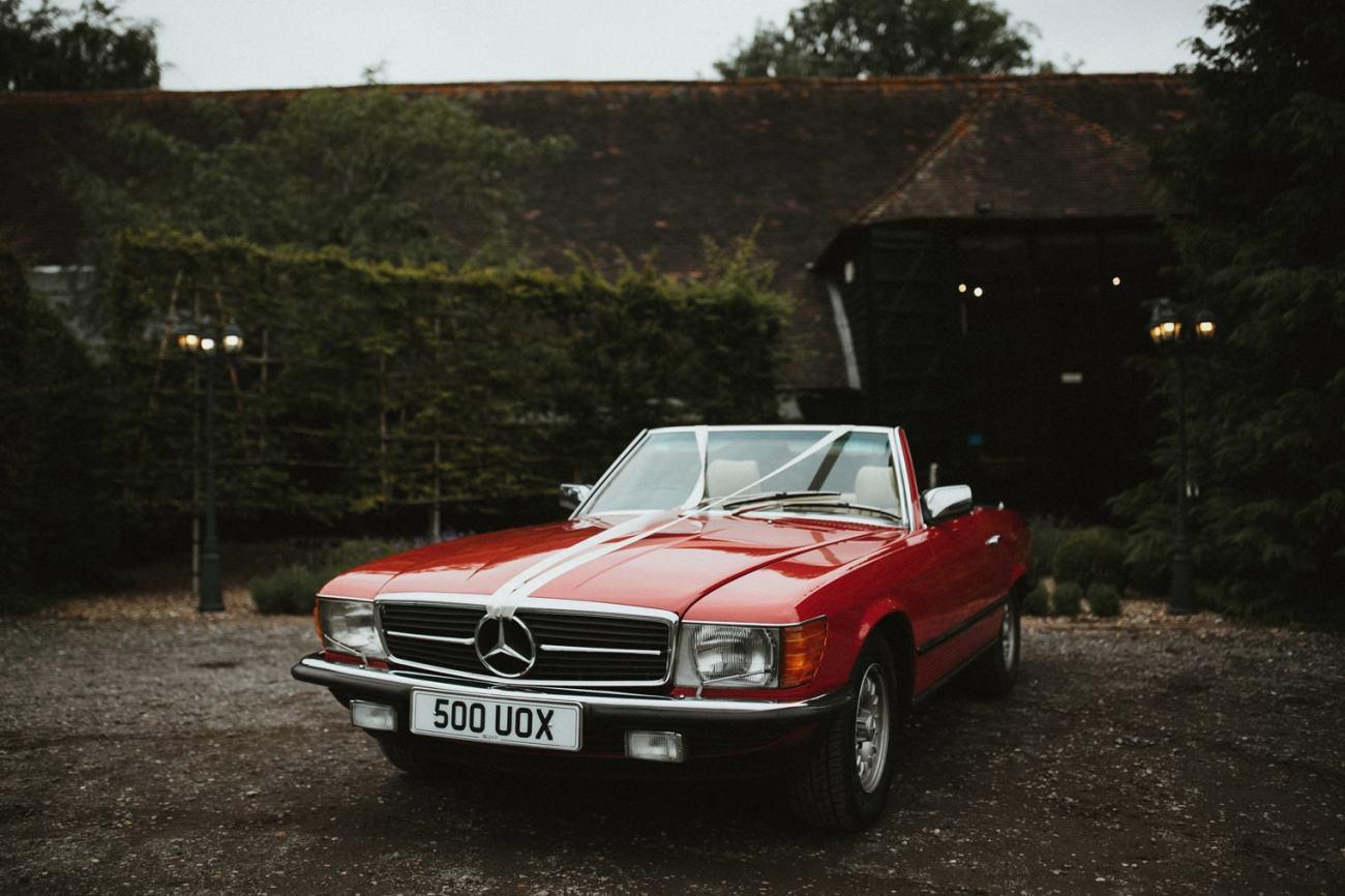 Vintage red mercedes wedding car