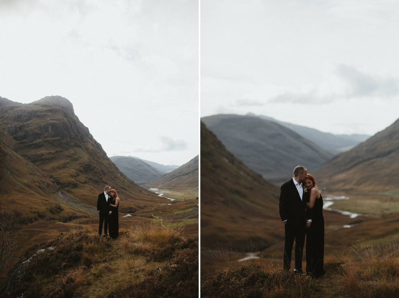 couple holding each other in glencoe during their scottish elopement
