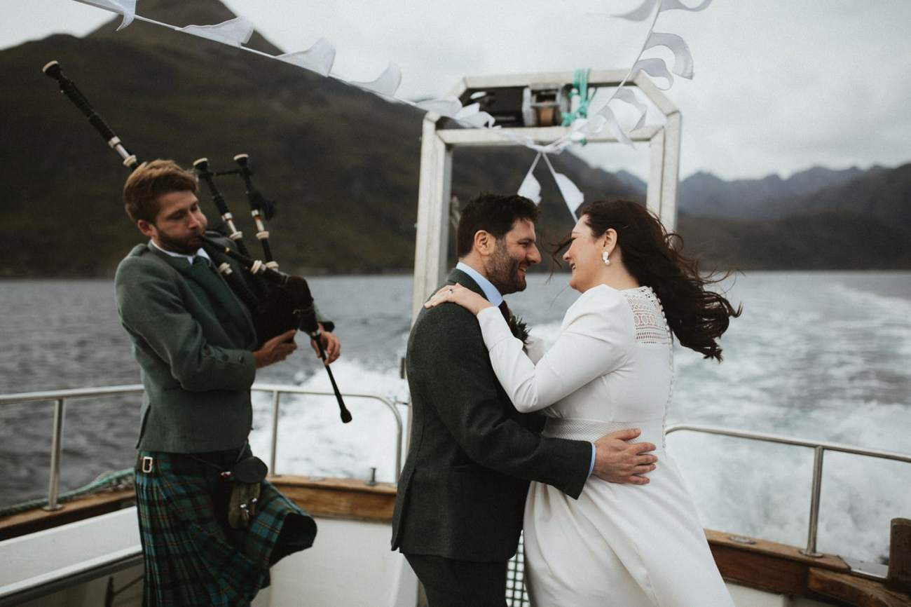 Bride and Groom dancing on Wedding boat from Loch Coruisk