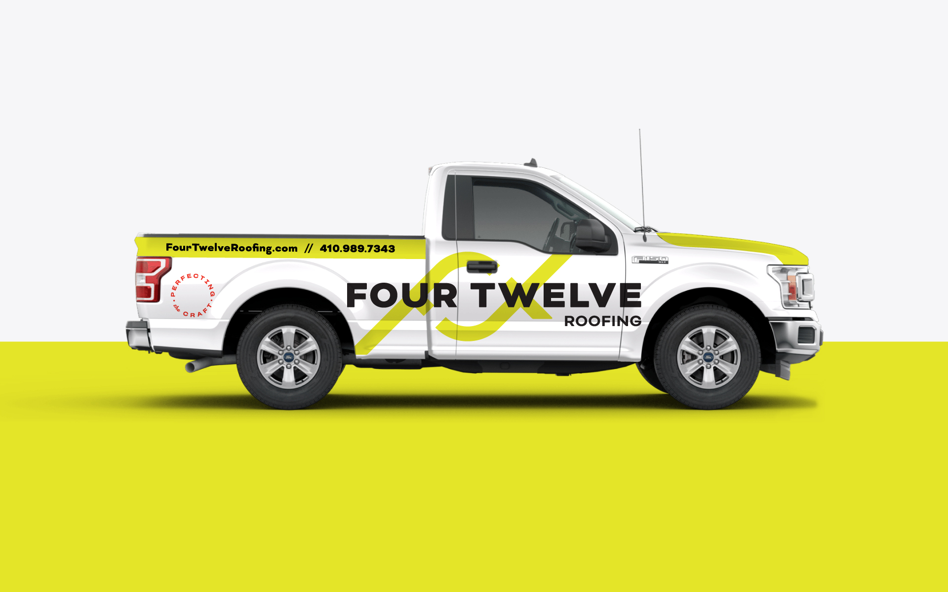 Four Twelve Roofing Truck Vehicle Wrap Side View