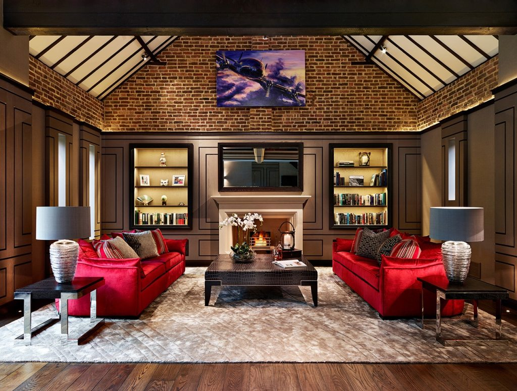 A feature wall in a living room
