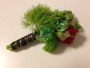 Boutonniere with Emeralds and Red Poppy Bud