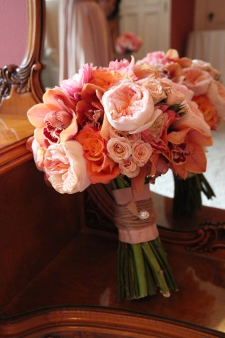 Peach and Coral Bridal Bouquet of Juliet Garden Roses, Cymbidium Orchids, Cabbage Roses and Dahlia's
