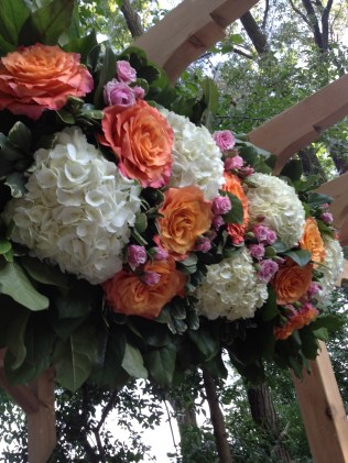 Trellis Arrangement with Cabbage Roses, Spray Roses, Hydrangea and Greenery