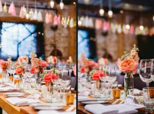 Coral, Peach and Gold Reception Flowers - Archeo